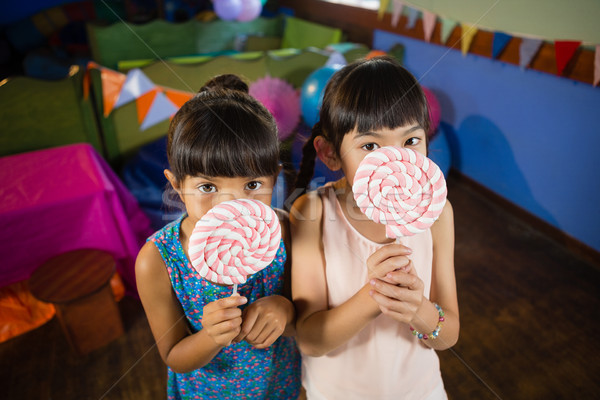 Stockfoto: Kinderen · lolly · verjaardagsfeest · home · portret
