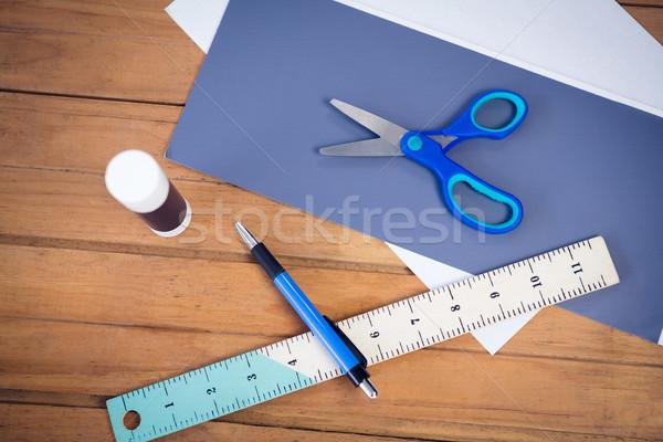 Overhead view of office supply on table Stock photo © wavebreak_media
