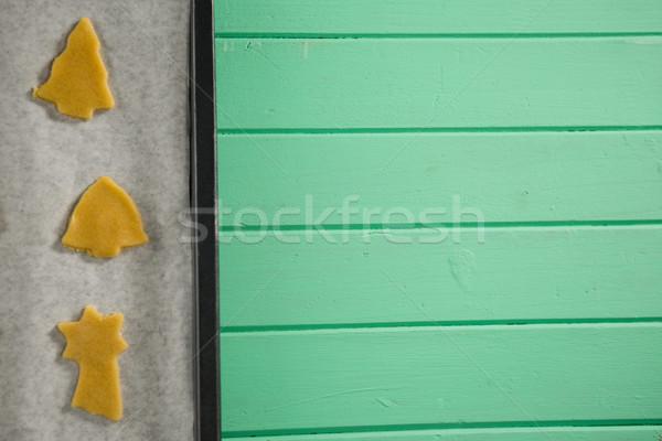 Ruw cookies dienblad houten tafel Stockfoto © wavebreak_media