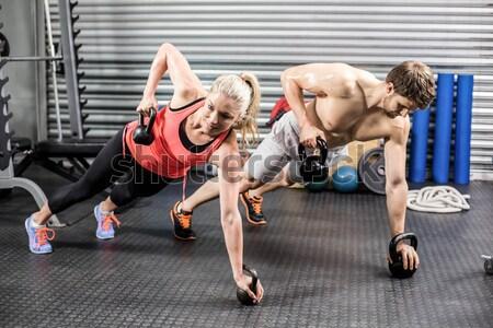 Zdjęcia stock: Dopasować · para · crossfit · siłowni