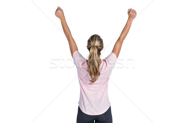 Hátsó nézet nő éljenez karok a magasban fehér fitnessz Stock fotó © wavebreak_media