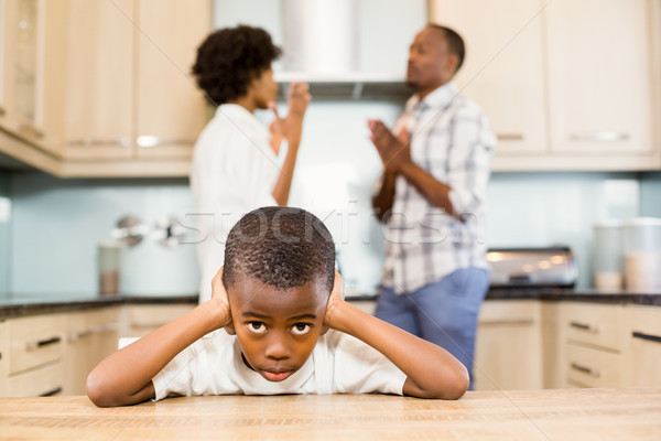 Sad boy against parents arguing Stock photo © wavebreak_media