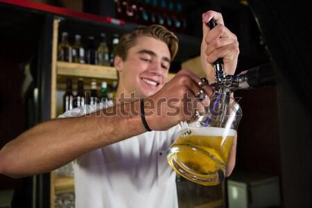 Beyaz şarap bar kadın mutlu moda Stok fotoğraf © wavebreak_media