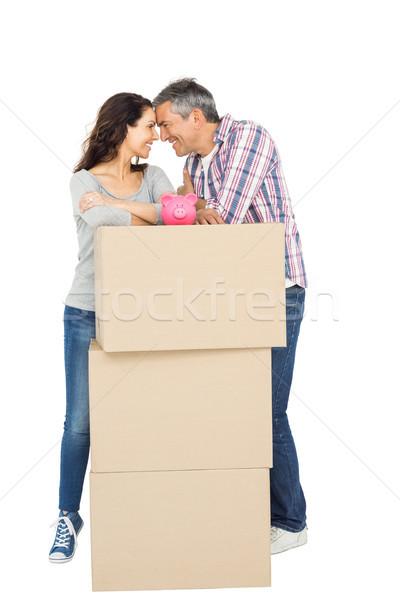 Pár dobozok persely fehér férfi doboz Stock fotó © wavebreak_media