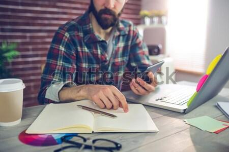 ビジネスマン 着用 バーチャル 現実 ヘッド ラップトップを使用して ストックフォト © wavebreak_media