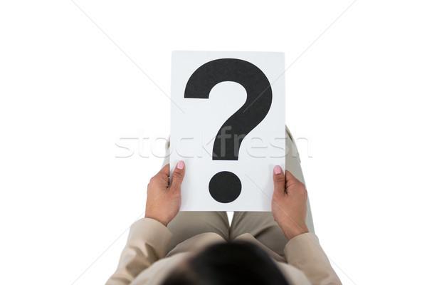 Zakenvrouw vraagteken teken witte leuk Stockfoto © wavebreak_media