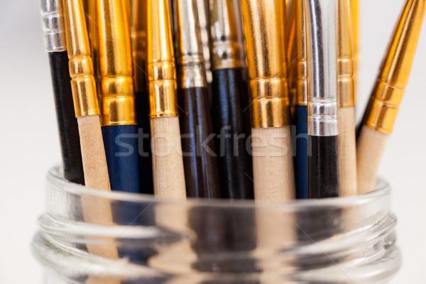 Vernice vetro jar bianco legno istruzione Foto d'archivio © wavebreak_media