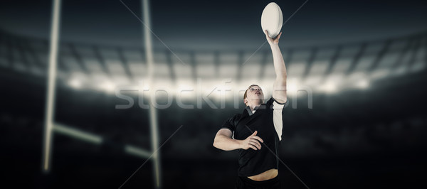 összetett kép rögbi játékos rögbilabda stadion Stock fotó © wavebreak_media