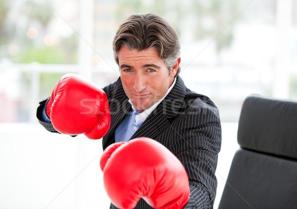Versenyképes üzletember visel boxkesztyűk iroda kezek Stock fotó © wavebreak_media