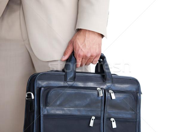 Işadamı evrak çantası beyaz mutlu Stok fotoğraf © wavebreak_media