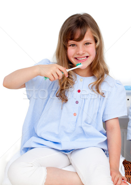 Portré kislány fogmosás otthon lány gyerekek Stock fotó © wavebreak_media