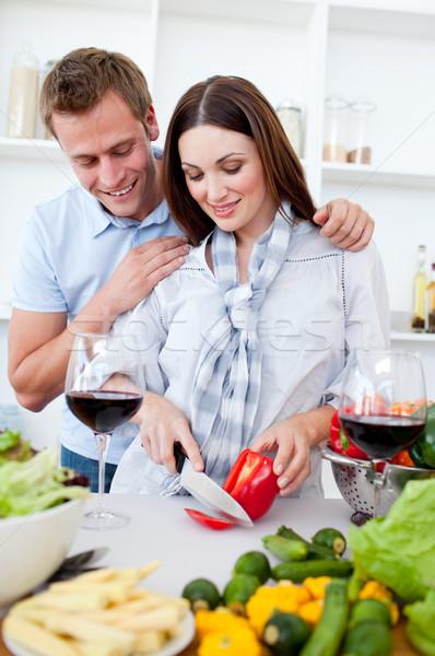Liefhebbend paar diner keuken vrouw voedsel Stockfoto © wavebreak_media