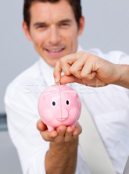 Atraente empresário dinheiro escritório Foto stock © wavebreak_media