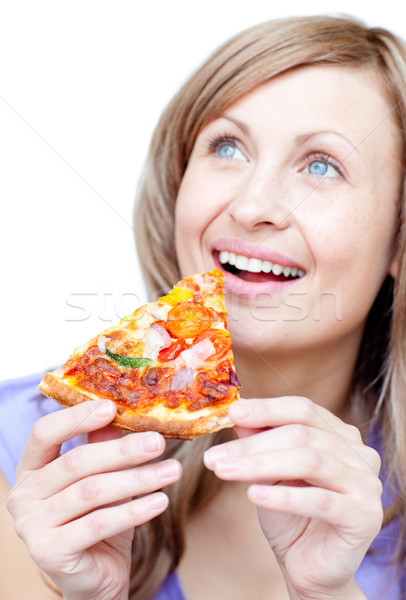 Vrolijk vrouw pizza witte voedsel Stockfoto © wavebreak_media