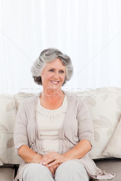 Mosolyog nyugdíjas nő mosolyog nő otthon ház Stock fotó © wavebreak_media