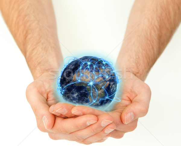 Mannelijk handen planeet wereldbol witte Stockfoto © wavebreak_media