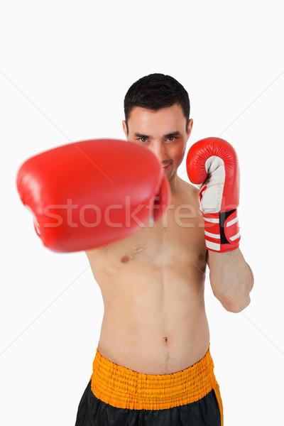 улыбаясь Боксер право кулаком белый спорт Сток-фото © wavebreak_media