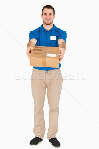 Gülen genç satıcı beyaz mutlu Stok fotoğraf © wavebreak_media