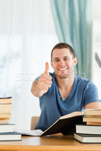 Male student found the right answer Stock photo © wavebreak_media