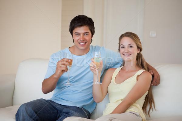 カップル ワイン リビングルーム 幸せ ホーム ストックフォト © wavebreak_media