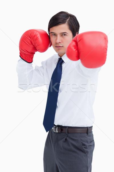 Młodych handlowiec rękawice bokserskie biały działalności człowiek Zdjęcia stock © wavebreak_media
