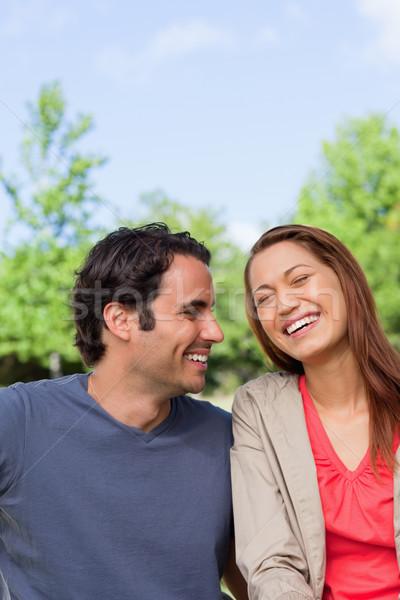 Adam mutlulukla bakıyor arkadaş gülme park Stok fotoğraf © wavebreak_media