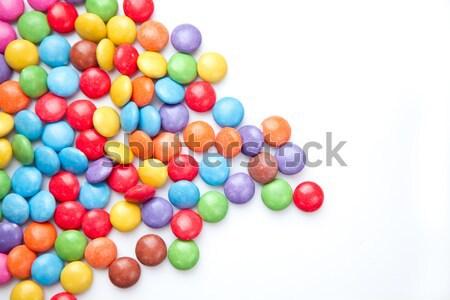 Halom cukorkák fehér étel csokoládé háttér Stock fotó © wavebreak_media