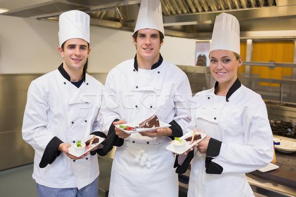 Stock fotó: Három · séfek · bemutat · csokoládé · torták · konyha