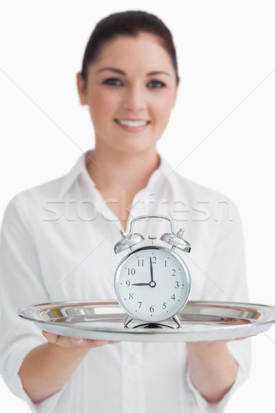 Cameriera argento vassoio sveglia felice Foto d'archivio © wavebreak_media