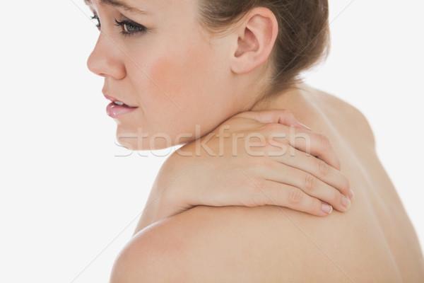 Zdenerwowany kobieta cierpienie ból w krzyżu młoda kobieta biały Zdjęcia stock © wavebreak_media
