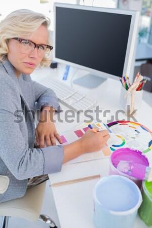 Szerkesztő néz szín kerék ül asztal Stock fotó © wavebreak_media