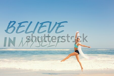 Composite image of beautiful blonde in white sundress jumping up Stock photo © wavebreak_media