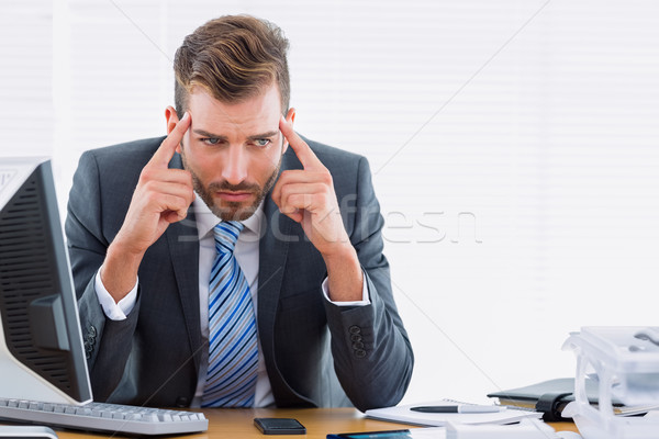 üzletember fejfájás irodai asztal fiatal elegáns ül Stock fotó © wavebreak_media