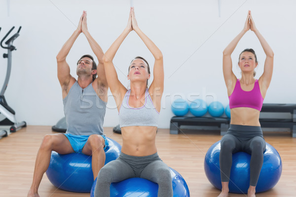 People with joined hands on exercise balls in gym Stock photo © wavebreak_media