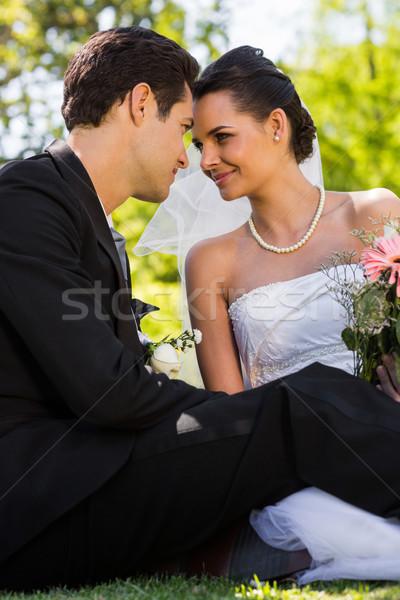 Romantik yeni evli çift oturma park görmek Stok fotoğraf © wavebreak_media