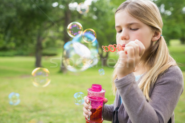 Girl blowing soap bubbles at park Stock photo © wavebreak_media
