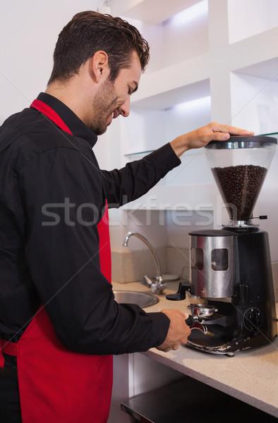 幸せ バリスタ コーヒー豆 カフェ 仕事 シャツ ストックフォト © wavebreak_media