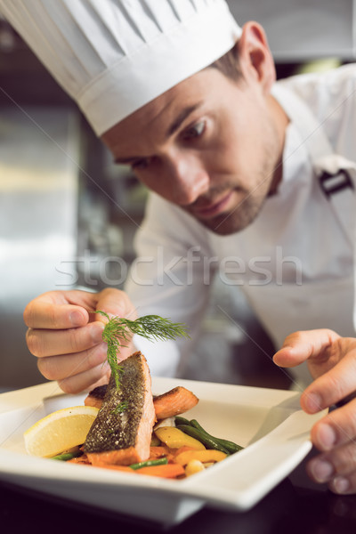 Closeup of a concentrated male chef garnishing food Stock photo © wavebreak_media