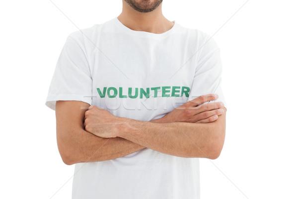 Középső rész férfi önkéntes kezek összehajtva közelkép Stock fotó © wavebreak_media