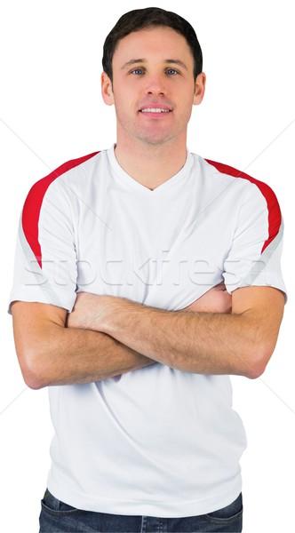 Stock fotó: Mosolyog · futball · ventillátor · fehér · férfi · futball