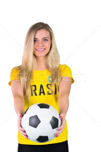 Foto stock: Bastante · fútbol · ventilador · brasil · camiseta · blanco