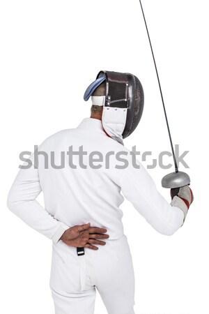 Mutlu olgun adam resim beyaz kot Stok fotoğraf © wavebreak_media