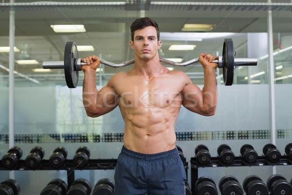 Gömleksiz kas adam halter spor salonu Stok fotoğraf © wavebreak_media