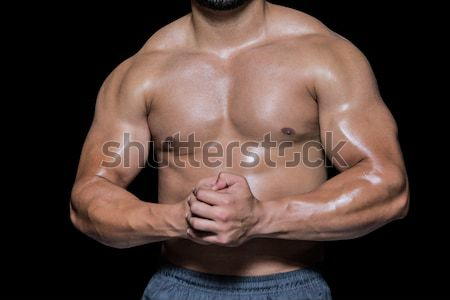 Mid section of shirtless muscular man Stock photo © wavebreak_media