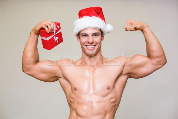 肖像 シャツを着ていない マッチョ 男 サンタクロース 帽子 ストックフォト © wavebreak_media