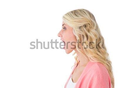 Csinos fiatal szőke nő kiált nyitott szájjal fehér Stock fotó © wavebreak_media