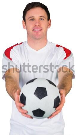 Heyecanlı adam turuncu futbol Stok fotoğraf © wavebreak_media