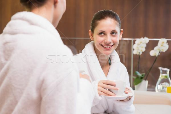 Sonriendo mujeres té dos las mujeres jóvenes taza Foto stock © wavebreak_media