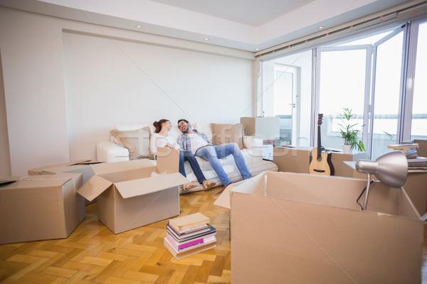 Aranyos pár elvesz törik új otthon otthon Stock fotó © wavebreak_media