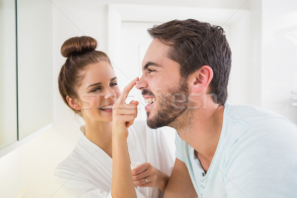 若い女性 触れる 鼻 ホーム バス カップル ストックフォト © wavebreak_media